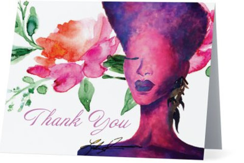 Violet Floral Thank You Cards