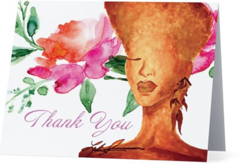Tangerine Floral Thank You Cards