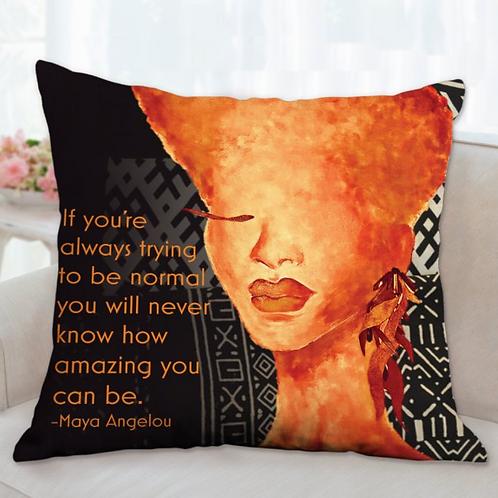 Tangerine Mudcloth Print Pillow
