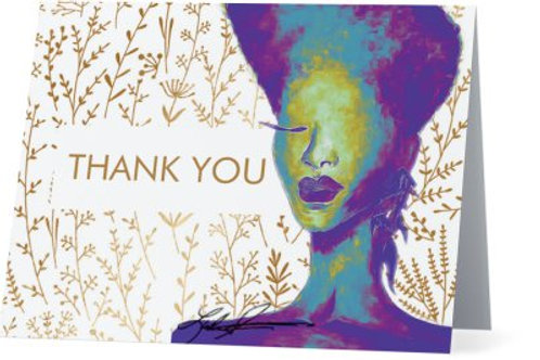 Gold Flower Pop Thank You Cards