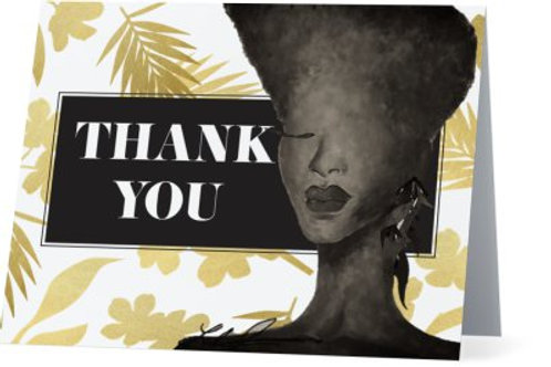 Gold Flora Thank You Cards