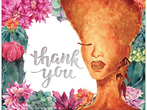 Tangerine Succulant Thank You Cards