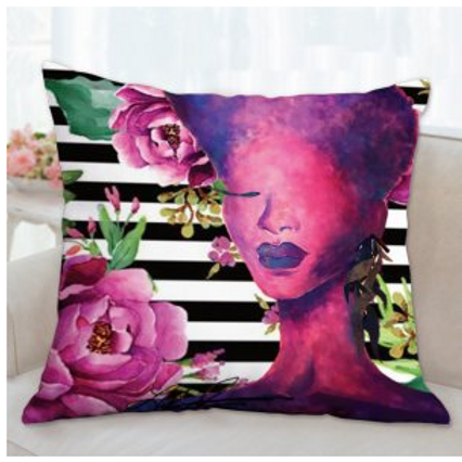 Violet Queen Floral Stripe Pillow