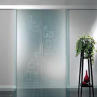 porta scorrevole filo muro, doppia anta, binario in alluminio