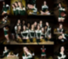 cheerleaders, cheer squad, cheer pics, team pics, studio, green and gold, cheer poses
