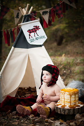 cake smash, woods, baby boy, toddler, ax man, ax, teepee, plaid, pancakes, baby, boots, fall