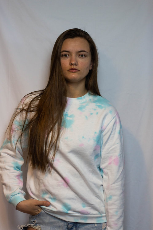 Blue/Salmon Tie Dye Sweater