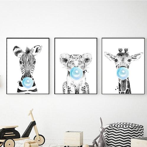 Balon Şişiren Hayvanlar 3'lü Set (Mavi)