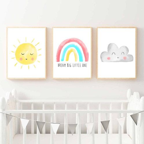 Güneş - Gökkuşağı ve Bulut 3'lü Set