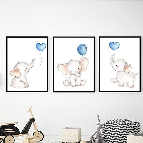 Mavi Balonlu Fil 3'lü Set