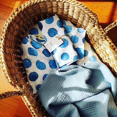 BlueDots Müslin ve Mavi Battaniye Set