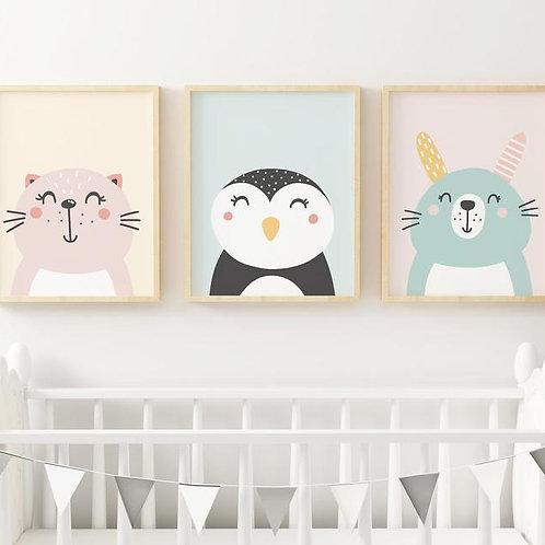 Renkli Hayvanlar 3'lü Set