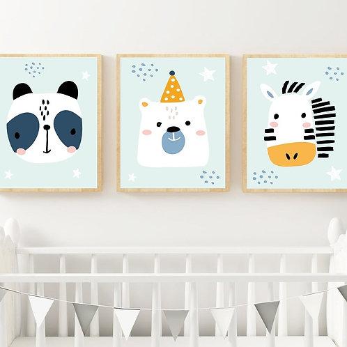 Mavi Fonlu Sevimli Hayvanlar 3'lü Set