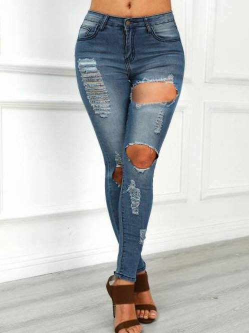 Raw Cut Trim Ripped Jeans