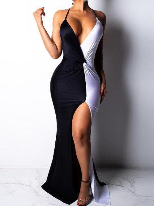 Two Tone Twist Waist Thigh Slit Evening Dress
