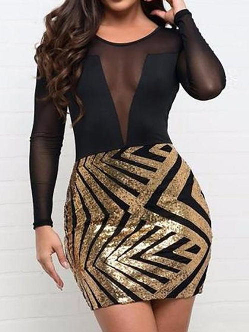 Sheer Mesh Splicing Chevron Stripes Sequin Dress