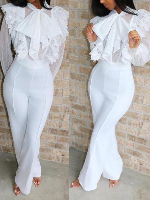 Lace Ruffles Tied Neck Jumpsuits