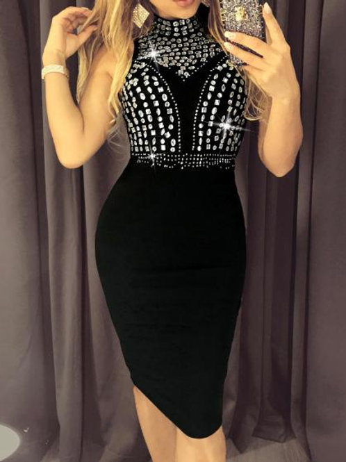 Hot Drilling Mesh Party Dress