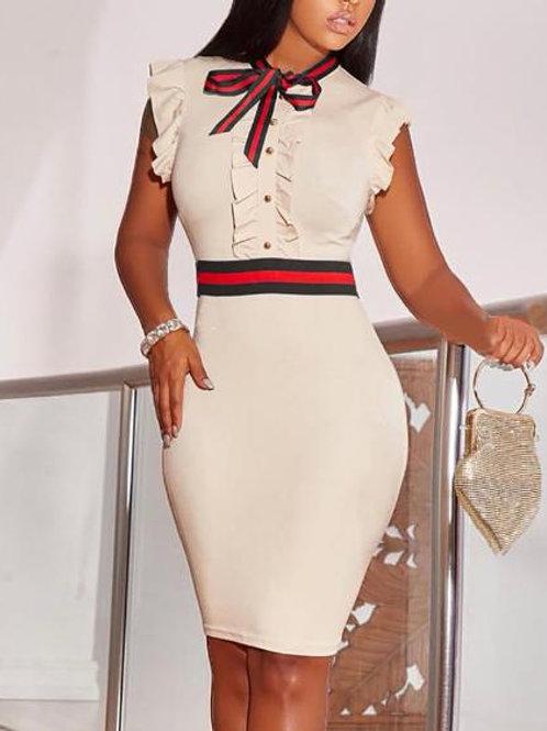 Striped Tape Insert Frill Hem Bodycon Dress