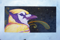 "'Golden Jay' Acrylic on Birch, 12x24"""