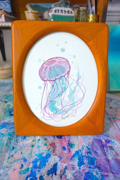 Framed Jellyfish - watercolour