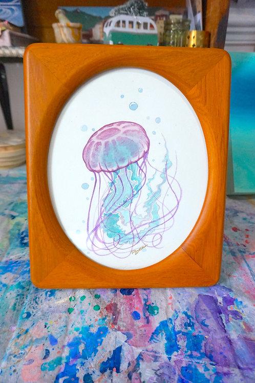 Framed Jellyfish - watercolour