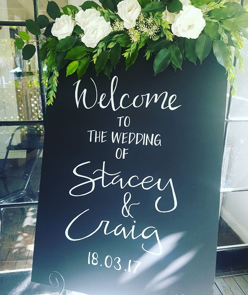 Wedding Sign with Floral Arrangement