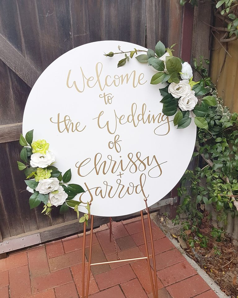 Circle Wedding Sign with Flowers