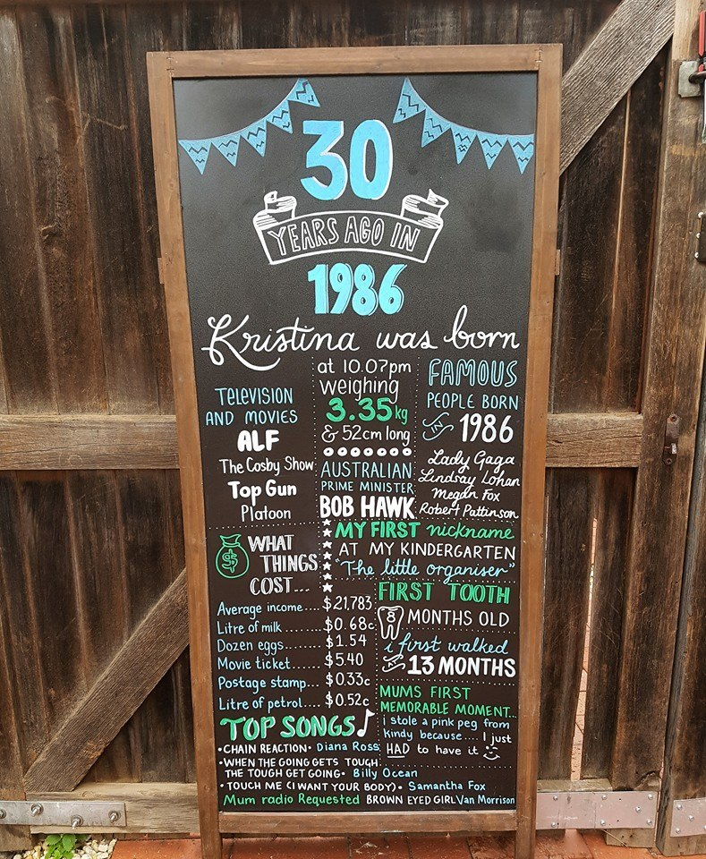 thirty years birthday board
