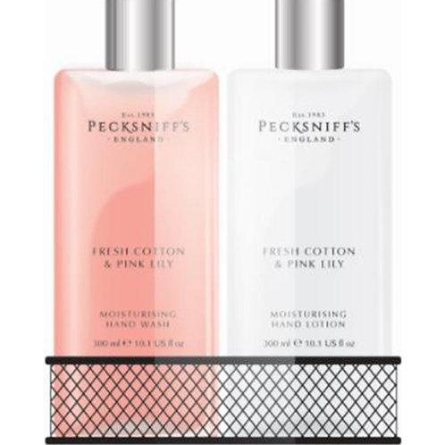 Pecksniffs Classic 300ml Caddy Fresh Cotton & Pink Lilies