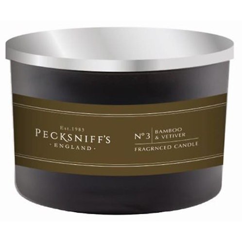 Pecksniffs Mandle Black 3W Candle Bamboo & Vetiver