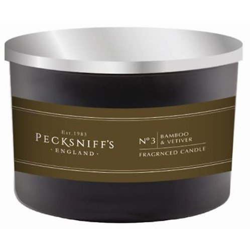 Pecksniffs Mandle Black Tall 3W Candle Bamboo & Vetiver