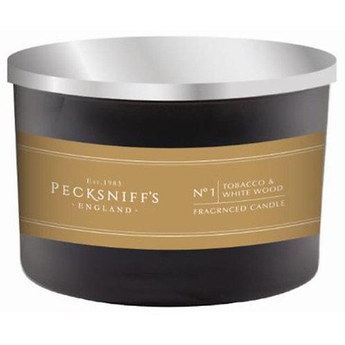 Pecksniffs Mandle Black Tall 3W Candle Tobacco & White Wood