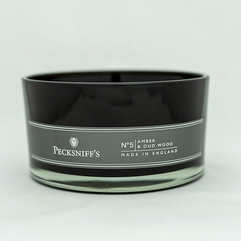Peck (MAND) BLACK 4W Candle w/lid (515g/18.1oz) - Amber & Oud Wood Discontinued