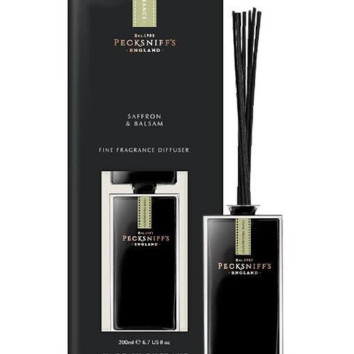 Pecksniffs Prestige Mandle 200ml Black Square Diffuser Saffron & Balsam