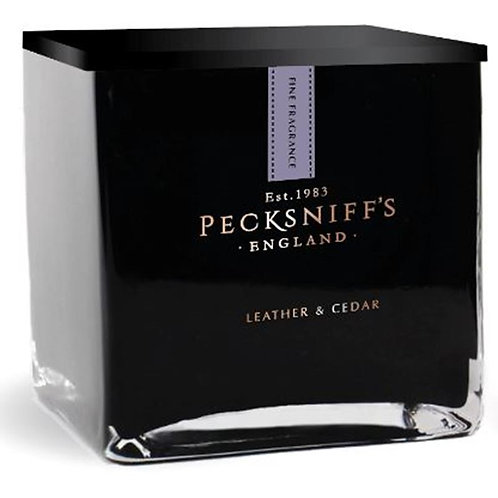 Pecksniffs Prestige Mandle 1 Wick Black Square Candle Leather & Cedar