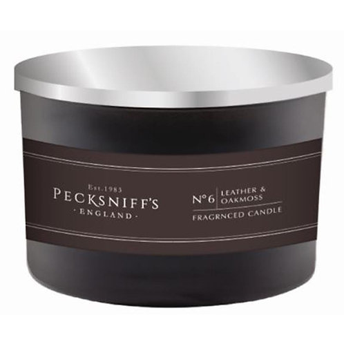 Pecksniffs Mandle Black Tall 3W Candle Leather & Oakmoss