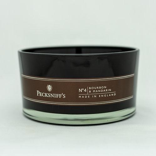 Peck (MAND) BLACK 4W Candle w/lid (515g/18.1oz) - Bourbon & Mandarin