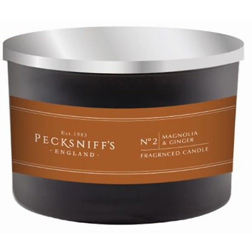 Pecksniffs Mandle Black 3W Candle Magnolia & Ginger