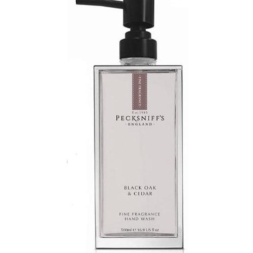 Pecksniffs Prestige 500ml Glass Hand Wash Black Oak & Cedar