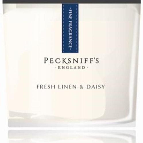 Pecksniffs Prestige 2 Wick Square Candle Fresh Linen & Daisy