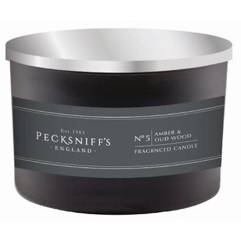 Pecksniffs Mandle Black 3W Candle Amber & Oud Wood