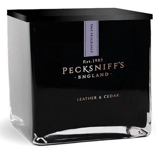 Pecksniffs Prestige Mandle 1 Wick Black Square Candle Leather & Cedar