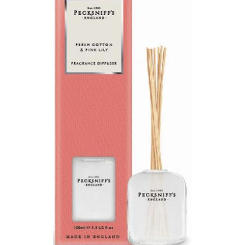 Pecksniffs Classic 100ml Diffuser Fresh Cotton & Pink Lily