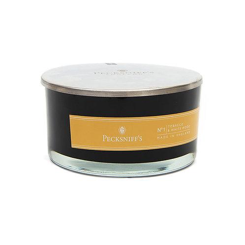 Peck (MAND) BLACK 4W Candle w/lid (515g/18.1oz) - Tobacco & White Wood