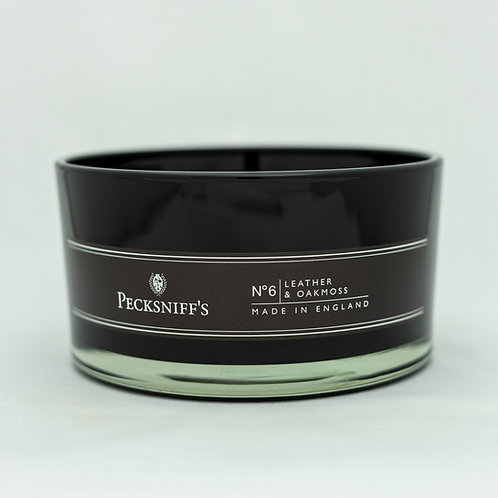 Peck (MAND) BLACK 4W Candle w/lid (515g/18.1oz) - Leather & Oakmoss Discontinued