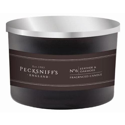 Pecksniffs Mandle Black 3W Candle Leather & Oakmoss