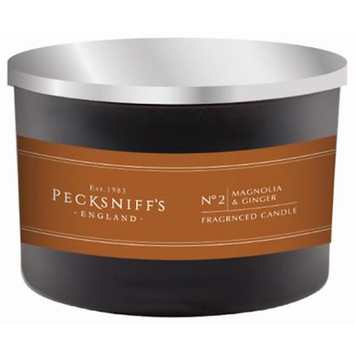 Pecksniffs Mandle Black Tall 3W Candle Magnolia & Ginger