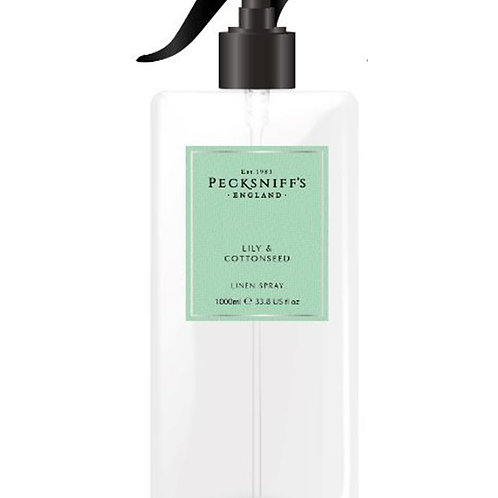 Pecksniffs Classic 1Litre Linen Spray Lily & Cottonseed