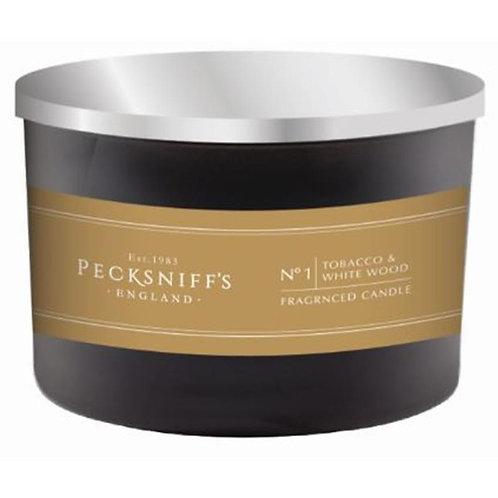 Pecksniffs Mandle Black 3W Candle Tobacco & White Wood